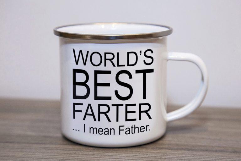 Vintage enamel Word's Best Farter, I Mean Father Mug