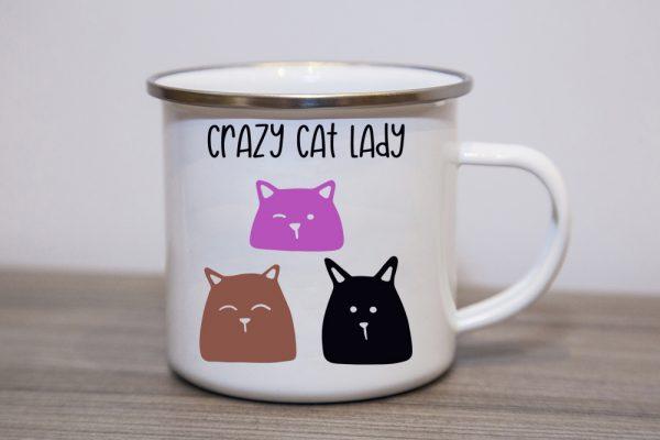 Crazy Cat Lady Enamel Mug